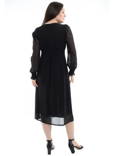 Reyon V Yaka Kollar Tül Elbise Siyah Siyah